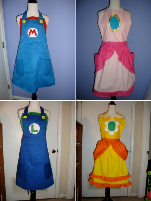 Super Mario Bros cooking aprons
