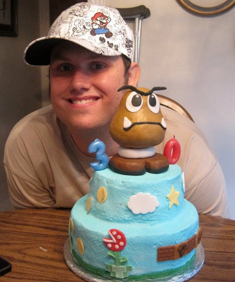 Super Mario Bros Birthday Cake with birthday boy @mwstratton