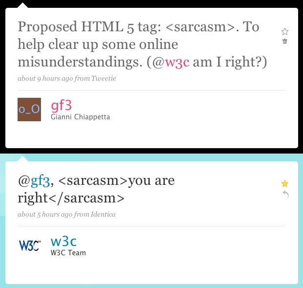HTML 5 sarcasm tag