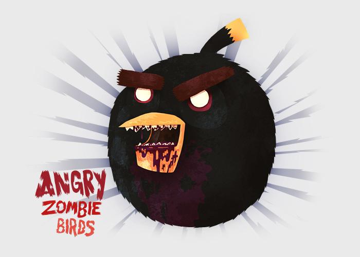 Black Angry Bird Zombie
