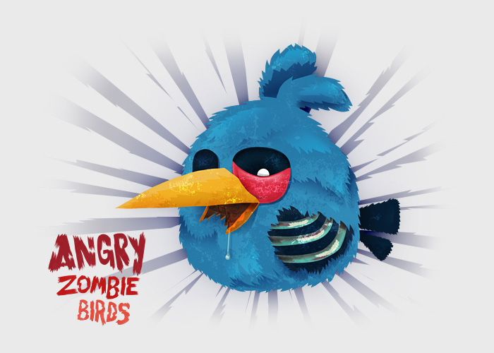 Blue Angry Bird Zombie