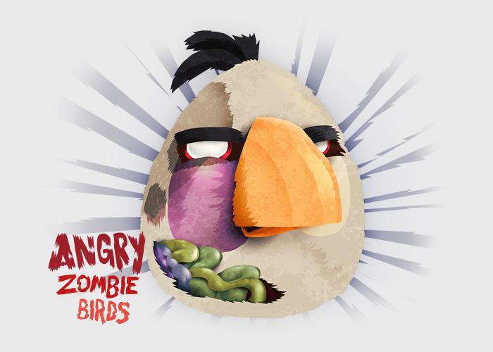 White Angry Bird Zombie