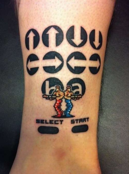 Konami Code Tattoo