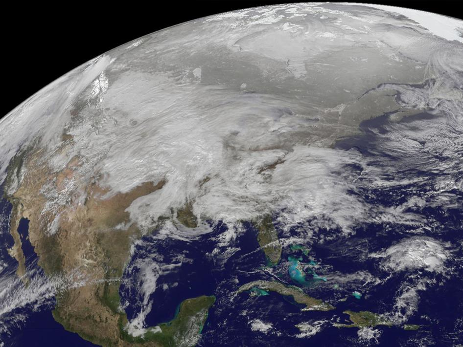Snowpocalypse as seen from Space. Image by NASA.
