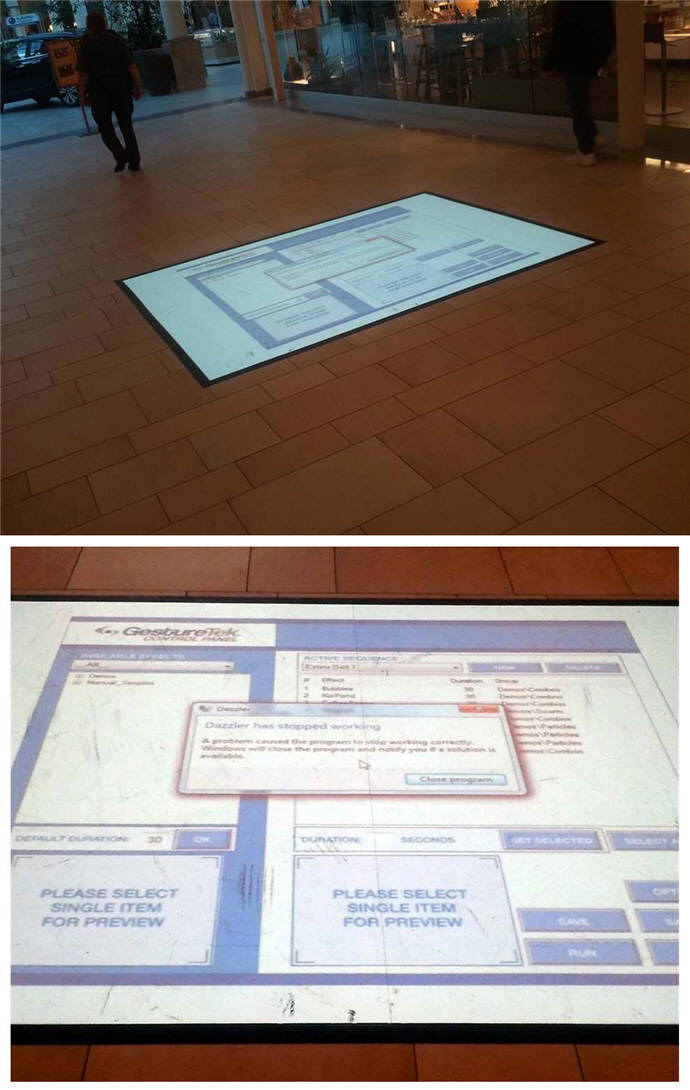 Mall floor ad system fail