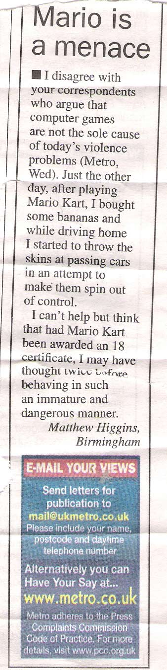 Mario Kart is a threat to society!