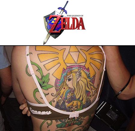 Girl with Legend of Zelda full back tattoo