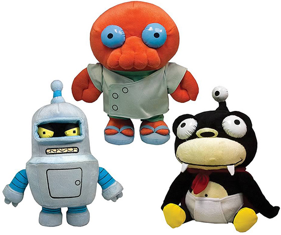 Bender, Zoidberg and Nibbler Futurama plush toys