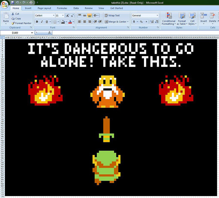 Legend of Zelda drawn in Microsoft Excel