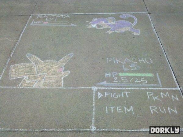 Pokemon battle sidewalk chalk art