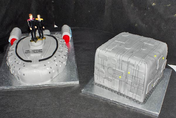 Star Trek Voyager and Borg Cube Wedding Cakes
