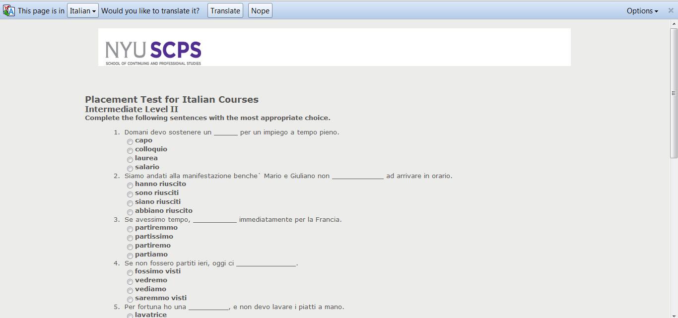 Chrome takes Italian test for you