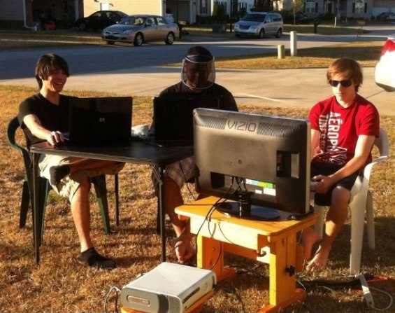 Playing video games outside