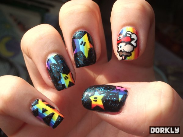 Mario Kart Rainbow Road fingernail art