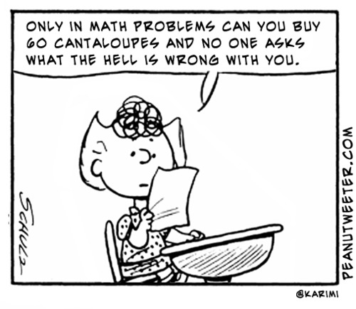Story problems in math class Peanuts cartoon