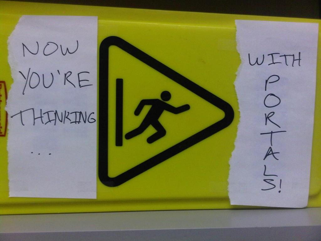Portal wet floor caution sign