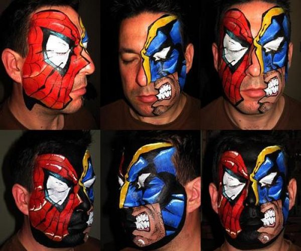 Spiderman vs Wolverine facepaint