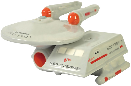 Star Trek Enterprise and shuttle salt and pepper shakers
