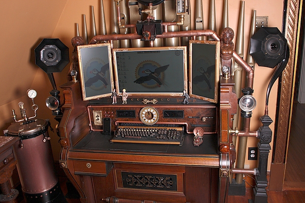 Streampunk organ computer and desk