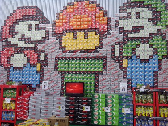 Super Mario Soda Can Display