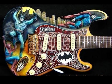 Batman Spider-man and Superman guitar