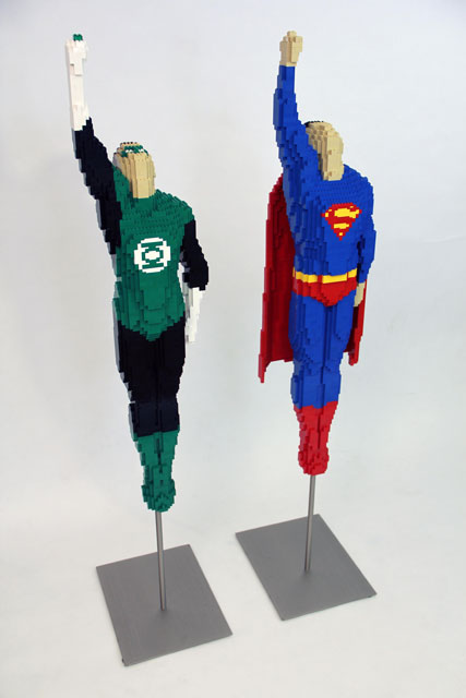 Green Lantern and Superman made from LEGO