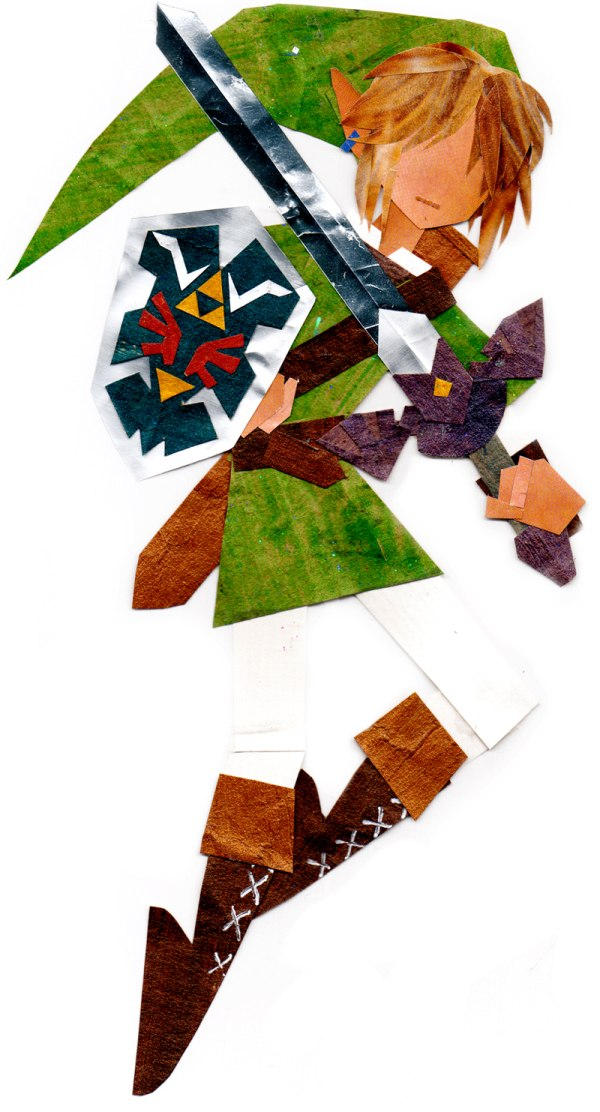 Legend of Zelda: Link Paper Collage