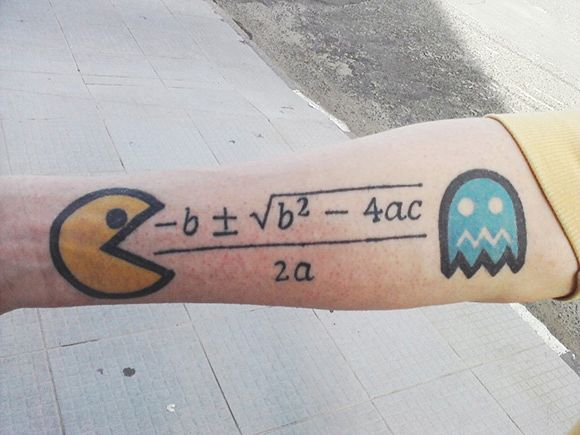 Pac-man and quadratic formula tattoo