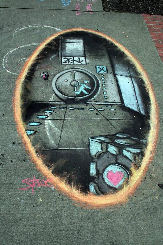 Portal 2 Sidewalk Chalk Art