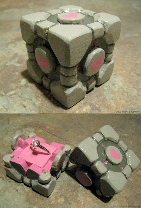 Portal Companion Cube Engagement Ring Box