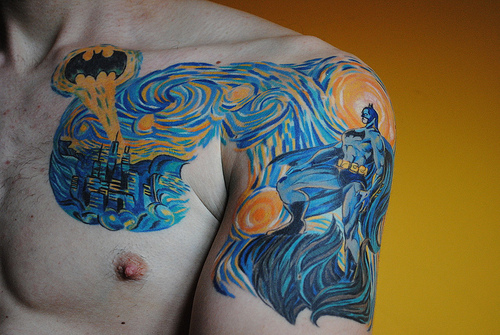 Batman in Van Goghs Starry Night Tattoo