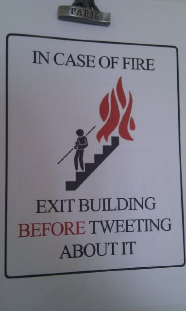 Exit before tweeting sign