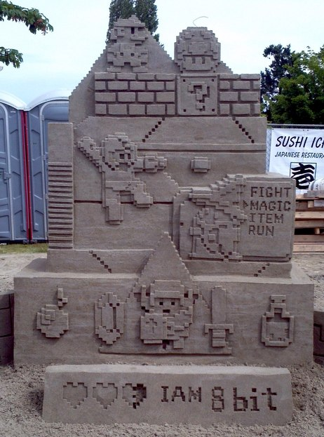 I Am 8-Bit Video Game Sand Sculpture