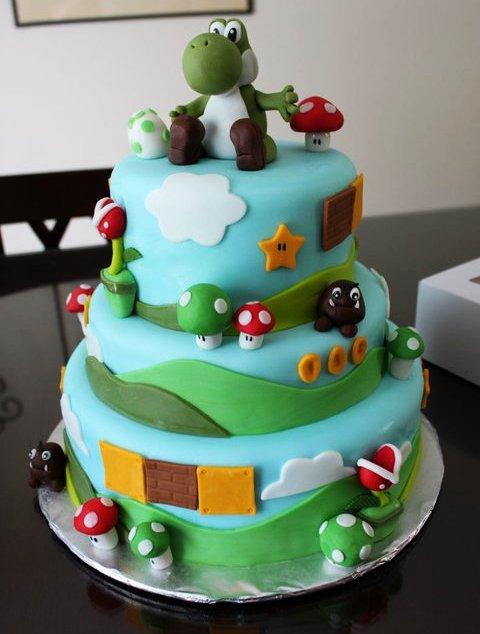 Super Mario Bros Yoshi Birthday Cake