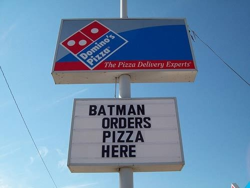 Batman Orders His Pizza From Dominos