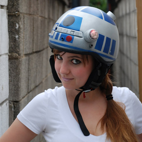 Jenn Hall and Her R2-D2 Helmet