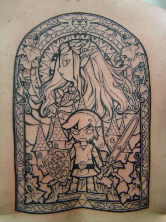 Legend of Zelda Windwaker Full Back Tattoo