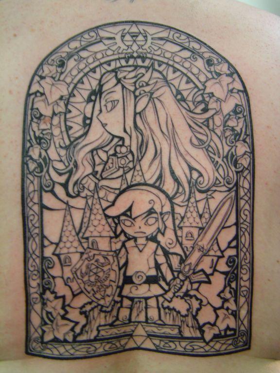 Legend of Zelda Windwaker Full Back Tattoo