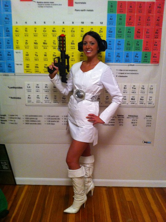 Lindsay Barrasse in her Princess Leia Duct Tape Dress