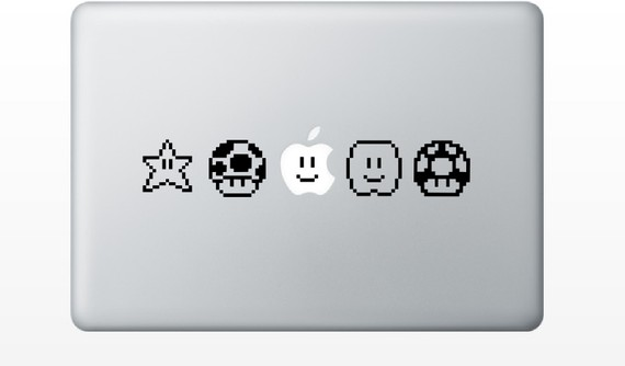 Super Mario Bros Items Vinyl Decals for the MacBook