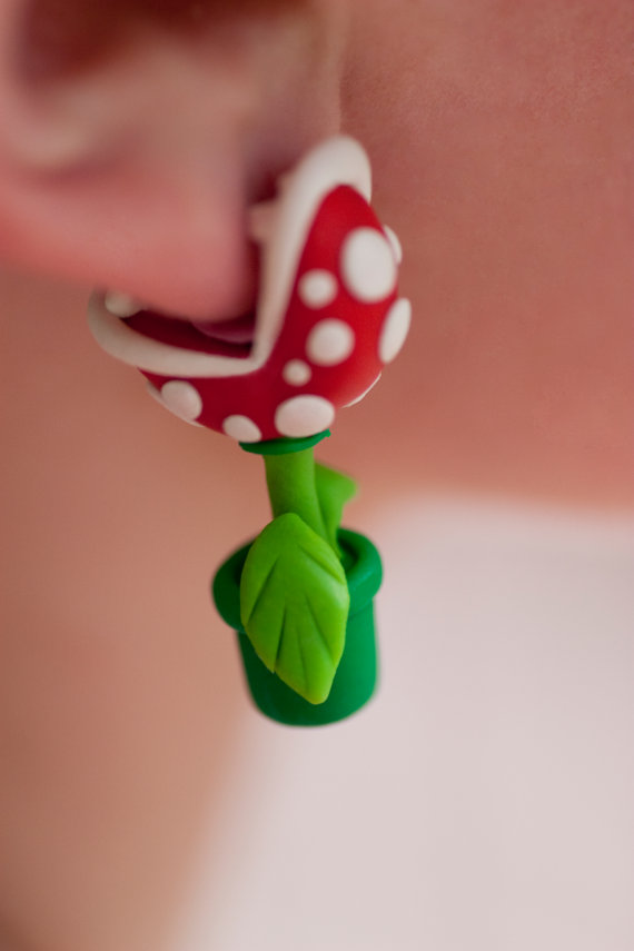 Super Mario Bros Piranha Plant Earrings