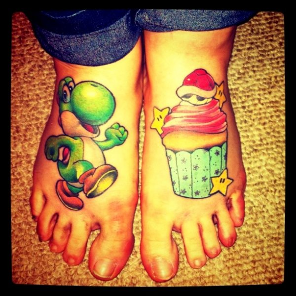 Super Mario Bros Yoshi Foot Tattoo