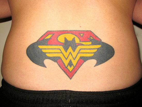 Superhero Tramp Stamp Featuring Superman Batman and Wonder Woman