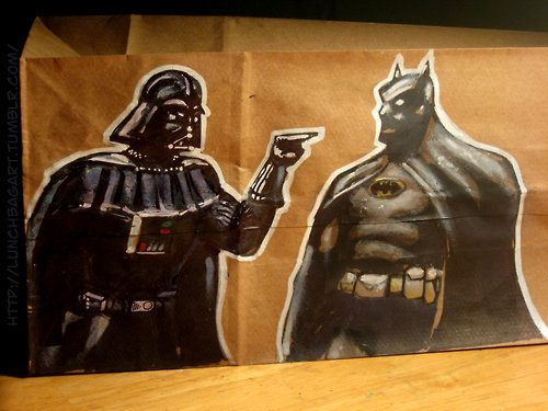Darth Vader vs Batman Lunch Bag Art