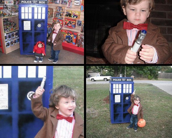 Doctor Who Kid Cosplay with TARDIS