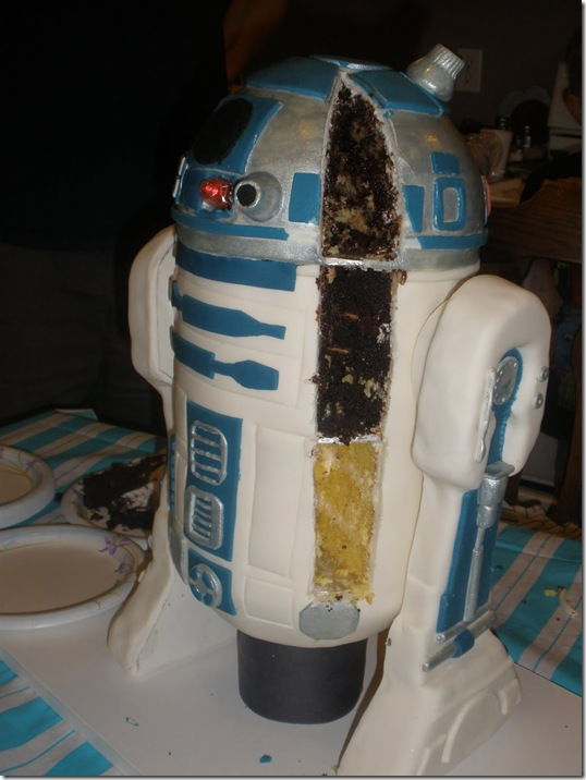 The Inside of the R2-D2 Cake