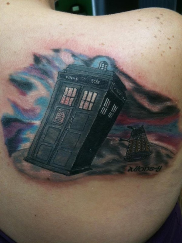 Doctor Who TARDIS and Dalek Tattoo