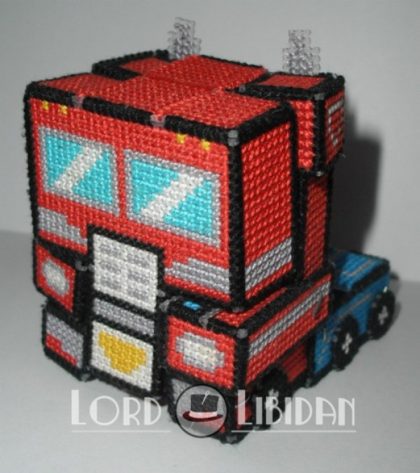 Plastic Canvas Transformer Optimus Prime Rollout