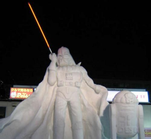 Star Wars Darth Vader and R2-D2 Snow Sculptures