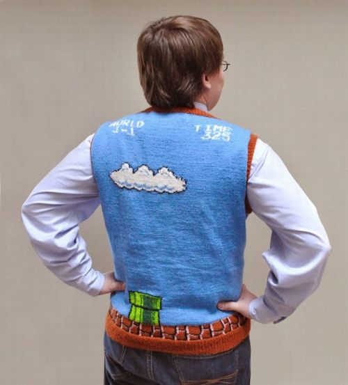 Super Mario Bros Sweater Vest Back